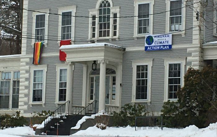 """""""Hingham Needs a Climate Action Plan"""" Banner hangs on Old Ship Church"""